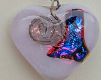 Opaque pink glass heart necklace