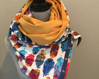 Reversible jersey snap scarf in vibrant feather and mustard