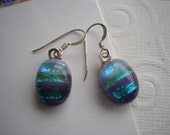Earrings Dichroic Glass Sea and Sky Blues, Aqua, Purple Stripes Fused Kiln Fired Glass .925 Sterling Silver French Hooks Dangles Iridescennt