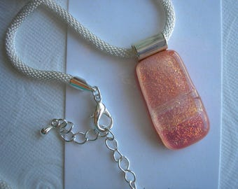 Dichroic Glass Necklace Apricot Shimmer Fused Glass Kiln Fired Hand Crafted Pendant
