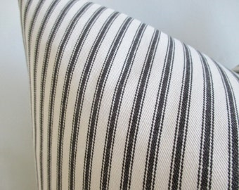 Pillow Cover Black & White Woven Twill Ticking Stripes choose red or black