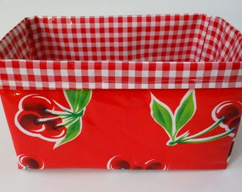 Cherry and Plaid Oilcloth Caddy