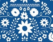 Blue and White Floral Ethnic Knit Fabric, Fiesta Fun by Dana Willard for Art Gallery Fabrics, Mexican Dress in Midnight, 1 yard Jersey KNIT