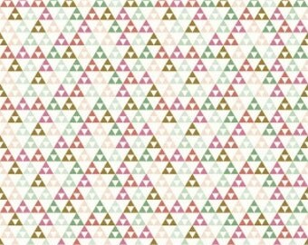 Mint Pink and Raspberry Geometric Triangle Jersey Knit Fabric, On Trend by Jen Allyson for My Mind's Eye for Riley Blake Designs, 1 Yard