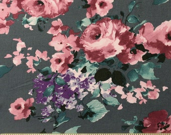 Grey Burgundy and Purple Floral Brushed Poly Spandex Knit, 1 yard