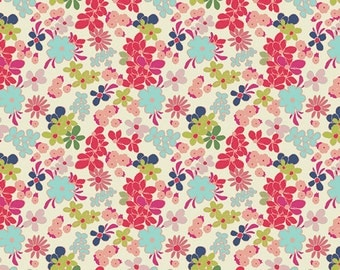 Pink Aqua Navy and Green Floral Fabric, Abloom Fusion by Art Gallery Fabrics, Ladylike Abloom, 1 Yard