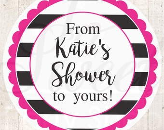 Bridal Shower Favor Labels, Baby Shower Favors, Wedding Favor Stickers, Bachelorette Party, From My Shower To Yours, Kate Spade - Set of 24
