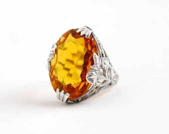 Vintage Art Deco Sterling Silver Simulated Citrine Ring - Antique 1920s Size 4 3/4 Flower Filigree Oval Orange Yellow Glass Stone Jewelry