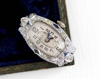 Antique Art Deco Platinum .32 CTW Genuine Diamond & Blue Created Sapphire Watch Case - Vintage 1920s Bruner Swiss Fine Movement Jewelry