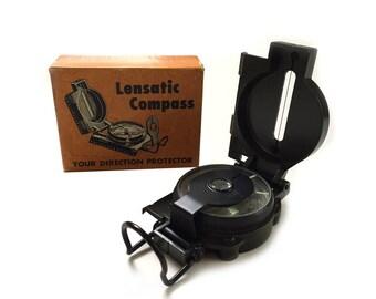 Vintage US Army Lensatic Compass Original Box w Instructions