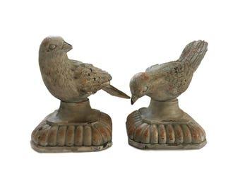 Vintage Pair of Doves on Pedestals