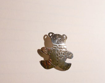 Vintage Mexican Sterling Silver TEDDY Bear Brooch--artist signed.