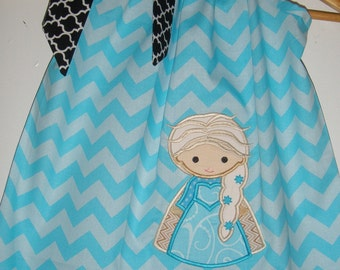 Queen Elsa sale 10% off code is tilfeb dress Disney Frozen 5x7 Embroidered blue chevron pillowcase dress  6,12,18 months 2t,3t,4t,5t,6