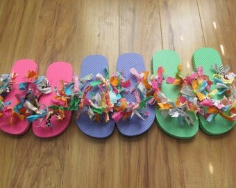 Girls Flip Flops Rag Flip Flops Fabric Flip Flops Children's Flip Flops Pink Flip Flops Green Flip Flops Purple Flip Flops Lavender Flip Flo