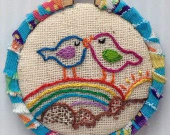 Colorful Love Birds Hand Embroidered Mini Hoop Art
