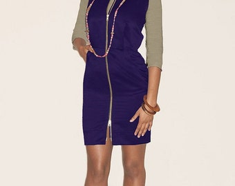 Chelsea 2 Way Zip Dress - Zipper Dress - Pencil Dress with Pockets