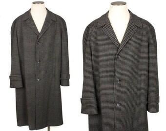 Vintage 1950s Mens Chracoal & Black Wool Overcoat • Lansdown Velvet Finish