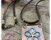 Hammered Copper with Sterling Silver Daisy Flower Leather Necklace Free Spirit Boho Necklace
