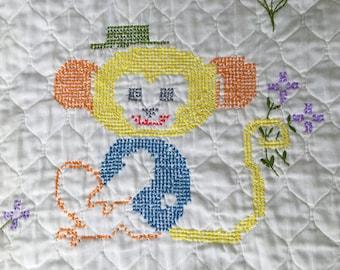 Vintage Baby Quilt Blanket Embroidered Cross Stitch White Monkey Kitten Puppy Chick Super Soft