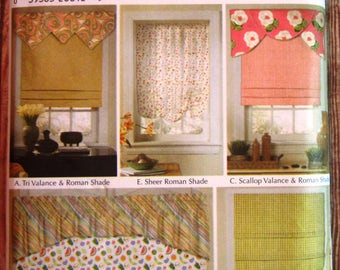 Roman Shades and Valances, Window Treatments Simplicity Home Decorating Pattern 5476 UNCUT