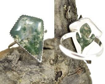 Moss Agate Ring with Sassafras Leaf Detail - Kite Shaped Stone - Size 8 - Botanical Leaf Ring