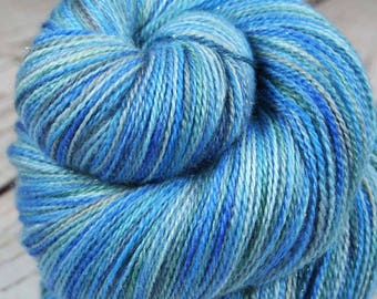 EVENING at Nanoose Bay: Superfine Merino-Silk-Stellina Sparkle - Lace Weight Yarn - 875 yards - Hand dyed lace yarn - Variegated lace yarn