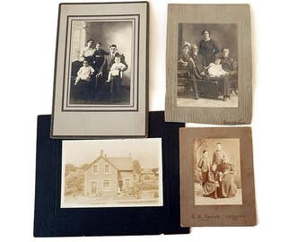 4 Antique Cabinet Card Lot of Portraits of Parents  Children/Victorian Formal Family Portrait Tintypes/ Old House 1800s