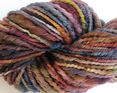 """Yarn Bulky Handspun Alpaca and Wool Thick and Thin Two Ply Hand Dyed 72 Yards (4 skeins avail.)   """" Rainbow  """" Doll Hair Knitting Crochet"""