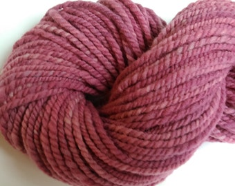 "Chunky Weight Handspun Wool Babydoll Southdown 116 Yards Hand Dyed Two Ply Pink Doll Hair Knitting  Crochet "" Fuschia   """