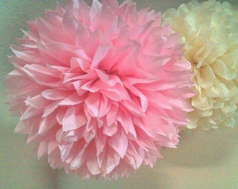 7 small paper poms. Wedding, baby shower, anniversary, bridal shower, party poms.