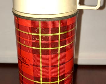 1950's red scotch plaid metal thermos with glass liner