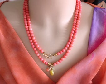 STOCK REDUCTION:   Ashira Japanese Sea Tangerine Coral Necklace with Charms