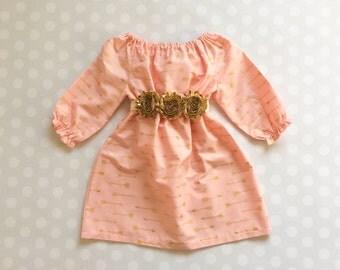 Girls Blush Dress - Girls Gold Arrow Dress - Gold Arrow Dress- dresses for Girls - Peach Blush and Gold Dress - Cupids Arrow