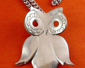 1970's Reed & Barton Pewter Owl MOD Pendant Necklace