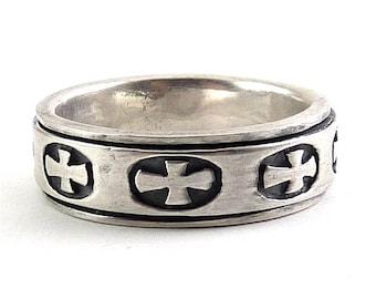 Sterling Silver Spinner Ring, Christian Crosses, Size 12