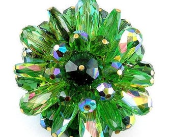 Brilliant 1960's Multi Green Crystal-AB Beads Cluster Brooch Pin
