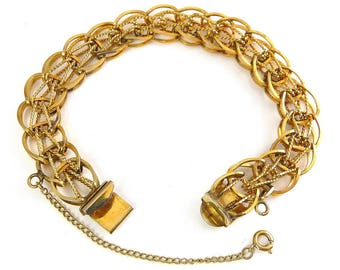 Vintage Wide 12K Gold-Filled Woven Looped Circles & Twisted Rope Charm Bracelet