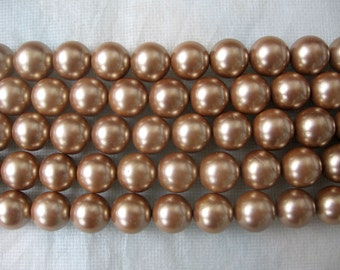Golden Brown South Sea Shell Pearl Beads 14mm - 16 Inch Strand