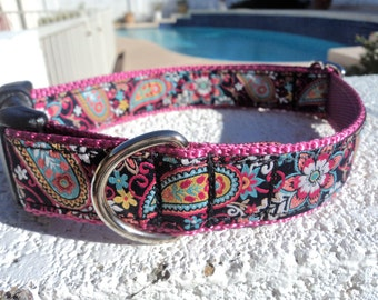 "Sale Dog Collar Fiesta Paisley 1"" wide side release buckle - no martingale limited ribbon"