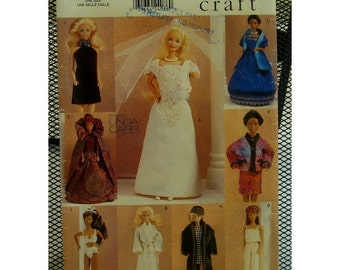 "Posh Fashion Doll Wradrobe Pattern, Gowns, Underwear, Fur Coat, Cape, Pants, Robe, LInda Carr Vogue No. 583 UNCUT Size 11.5""  (29cm)Doll"