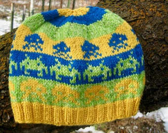 Wool Hat: Space Invaders in Blue, Green, Yellow