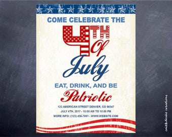 4th of July Independence Party Flyer Digital Printable