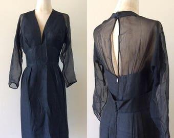 "20% OFF 1960's Silk Wiggle Dress w/ Halter Top Illusion Sleeves & Back Little Black Dress Vintage Size Small Medium 27"" Waist by Maeberry Vi"