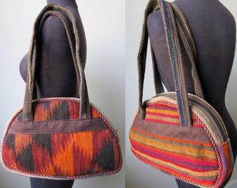 Vintage Moroccan Kilim Carpet & Leather Bag Zip Shoulder Tote Satchel
