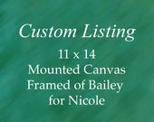 Custom Dog Portrait of Bailey for Nicole measuring 11 x 14 inches on canvas. Framed.