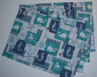 Set of Four Quilted Beach Placemats