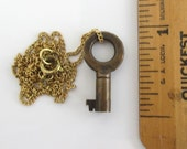 "7/8"" Antique Skeleton Key Pendant Necklace - Genuine Hollow Barrel Key, Brass 16"""