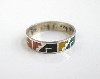 925 Sterling Silver & Enameled Band Ring - Vintage, Colorful, Size 5 1/4