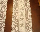 """2 Vintage Ivory Rose Filet Lace Table Runners 13"""" x 37"""" Lovely!"""
