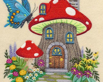 Fairy House in Toadstool Quilt Block